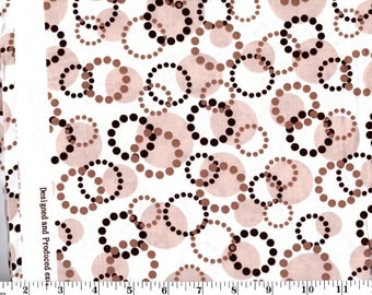 1 Yard, Brown Circles and Dots on Cream