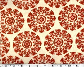 1 Yard, Medallion Rust Circles on Cream Cotton