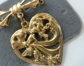 Vintage Heart Brooch Dead Stock 1928 Jewelry Pin Made in USA 1980s