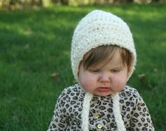 Crochet Pearl Bonnet 6-12 months Baby