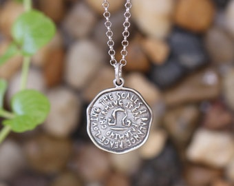 LIBRA Key Word Pendant of Astrology Zodiac Sign, Birthday gifts, Sterling Silver Chain Included.