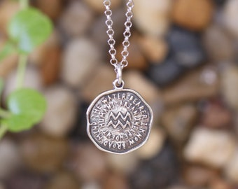 AQUARIUS Key Word Pendant of Astrology Zodiac Sign, Birthday gifts, Sterling Silver Chain Included. (Chain Length Optional)