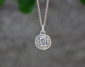 Gemini Astrology Zodiac Sign Pendant, Birthday gifts, Zodiac Jewelry,Sterling Silver Chain Included.