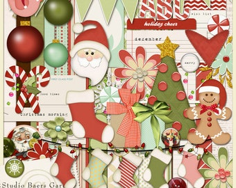 Digital Scrapbooking Kit Last Christmas 2 - Christmas - Santa - Traditional Christmas Colors INSTANT DOWNLOAD