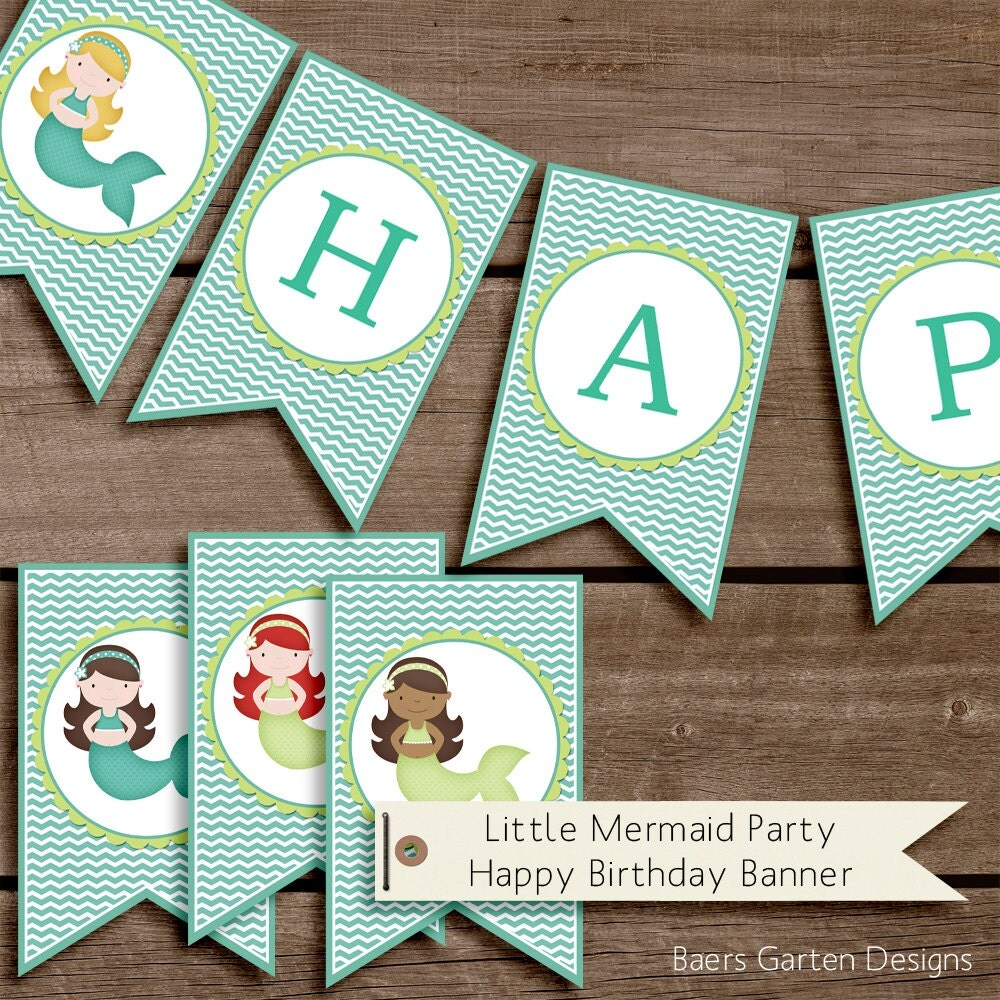 Little Mermaid Happy Birthday Banner By BaersGartenDigital