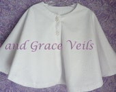 Eyelet Cape, Flannel Lined for Warmth, Communion, Flower Girl or Easter, White