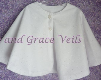 First Communion Cape White, Eyelet andFlannel Lined for Warmth, Flower Girl/Easter