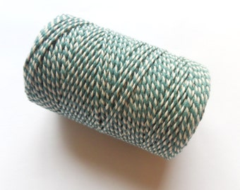 FULL SPOOL Teal & White Baker's Twine - 100m