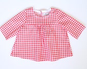 Girls blouse Toddler girls top Girls clothes Red white check gingham blouse Girls tunic top Cotton blouse