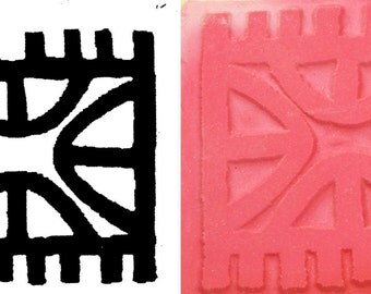 Large African Design Stamp for Polymer Clay - Precious Metal Clay - Scrapbooking - Textiles - Large African Pendant Design