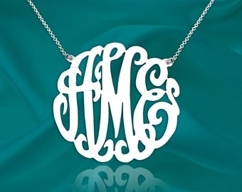 Monogram Necklace - 1.75 inch - Sterling Silver Handcrafted Designer - Monogram Initial Necklace - Made in USA