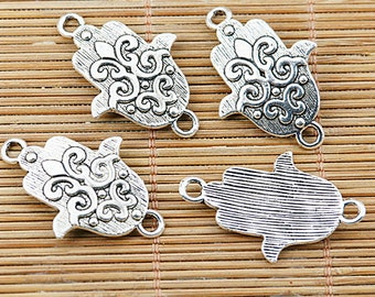 16pcs tibetan silver tone curved flower pattern connector EF1427