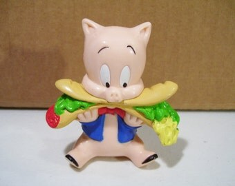 Vintage Looney Tunes Porky Pig Eating Sub Sandwich Pvc Figure, 1994 Tyco