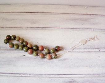 Unakite worry beads set, sterling silver and unakite round beads, Greek worry beads, komboloi, green-pink unakite prayer beads-mala