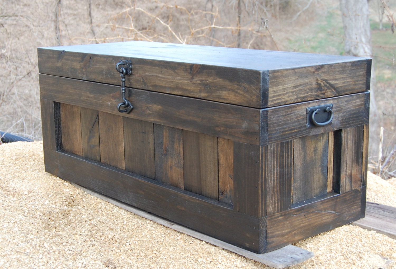 Large hope chest coffee table entry trunk wooden