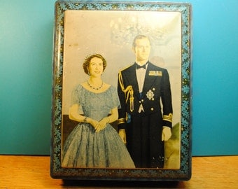 antique candy tin  Queen Elizabeth with her handsome Prince Phillip 1953  OAK leaf details blue candy tin antique candy box queen royal