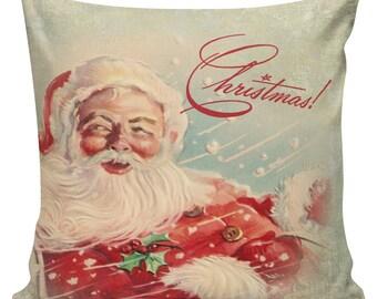 Santa Throw Pillow Cover Vintage Retro Christmas Ephemera Burlap & Cotton CH-41