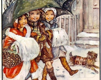 First SNOW.  Digital VINTAGE Christmas Illustration.  DIGITAL Christmas Download. Digital Christmas Print.