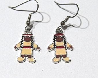 Thanksgiving Earrings Indian Earrings  Halloween Earrings  Fall Earrings  Surgical Steel wires Enameled metal charms Native American Indian