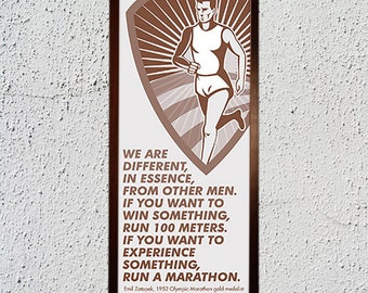 Marathoner's Experience - Framed Canvas Print (12 x 30 inch)