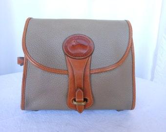 Vintage Dooney & Bourke Taupe Pebbled All Weather Leather Shoulder Bag