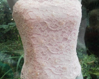 pink lace all lined corset top with side zip uk12 and usa size8 wedding evening or special occasion