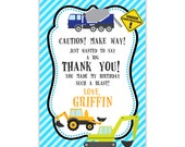Construction Truck Thank You Card - Aqua Blue Stripe, Bulldozer, Dump Truck Personalized Birthday Party Thank You - Digital Printable File