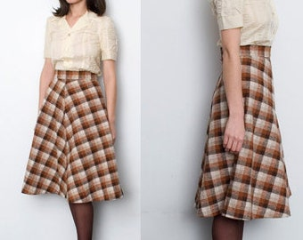 vintage plaid skirt brown beige XS 1960
