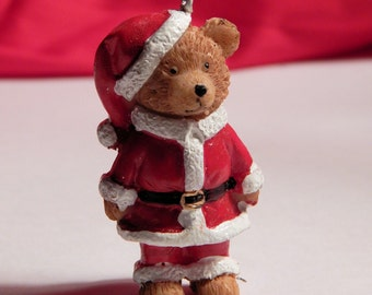 Doll House Teddy Bear In Santa Suit Sweater Standing  - Christmas Tree Ornament - 1/12th Scale