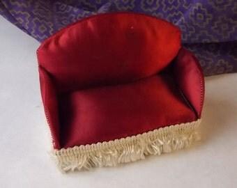 Dollhouse Sofa - Doll House Red Silk Handmade Couch -  1/12th Scale