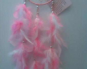 "DreamCatcher  ""Fairy Floss"",6-Inch,15cm,Pink,White,Silver,Feathers,Handmade,Gift,Wedding,Baby,Girl,Newborn,Pretty,Mobile.."