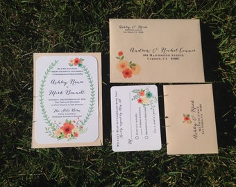 Southern Charm Wedding Invitation and RSVP Set of 10