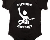 Future Bassist Rock Baby One Piece Bodysuit Romper in Black