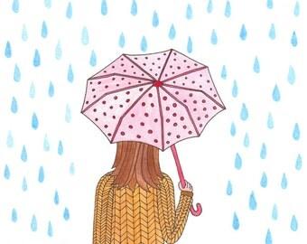 Rainy Days - Watercolor Archival Art Print