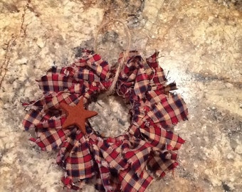 Mini rag wreath ornament