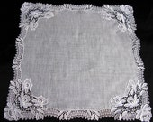 Antique Lace Handkerchief, Wedding Handkerchief, Something Old, Victorian Era, Ladies Hankies,