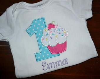 Personalized Cupcake with Sprinkles Birthday Bodysuit or Shirt