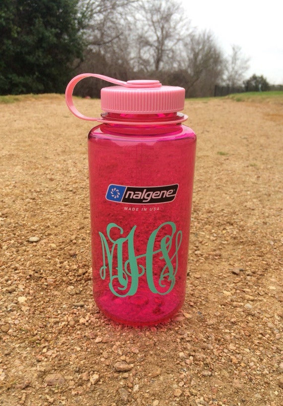 monogram nalgene water bottle by prettylettersshop on etsy