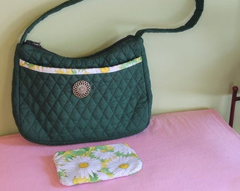 quilted green shoulder bag