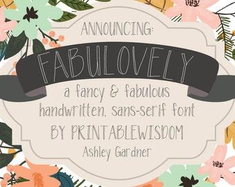 Printable Wisdom font, Fabulovely font, handwritten font handlettered print font hand lettered hand written sans serif font, commercial use