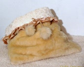 Cream Faux fur and soft  faux fur with Silver Dog Sleeping Bag snuggle sack