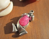 Pink resin Stone charm pendant  sterling silver plated 8 micras coat