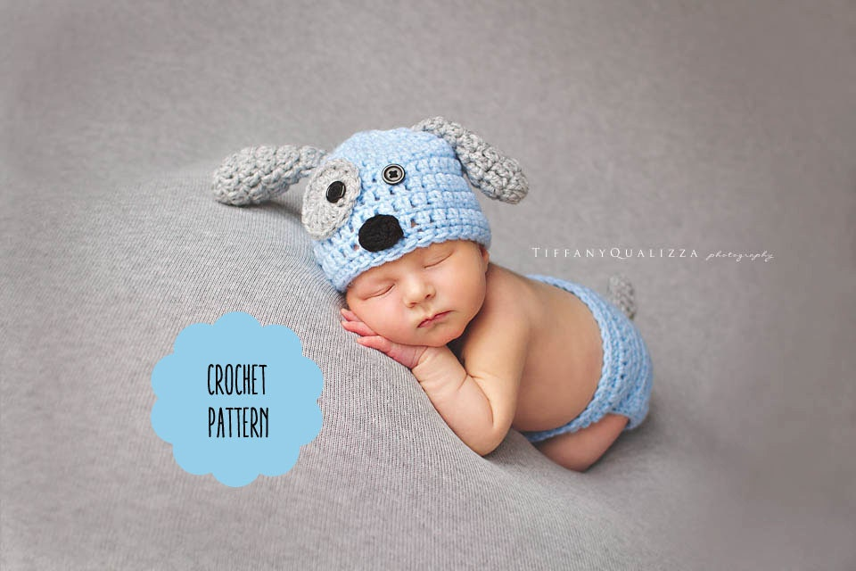 Crochet Dog Hat And Diaper Cover Pattern : CROCHET PATTERN Newborn puppy dog hat and diaper cover