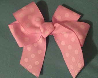 Pink with White Polka Dot Bow