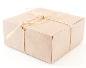 5 Large Square Kraft Gift Boxes 8x8x3.5