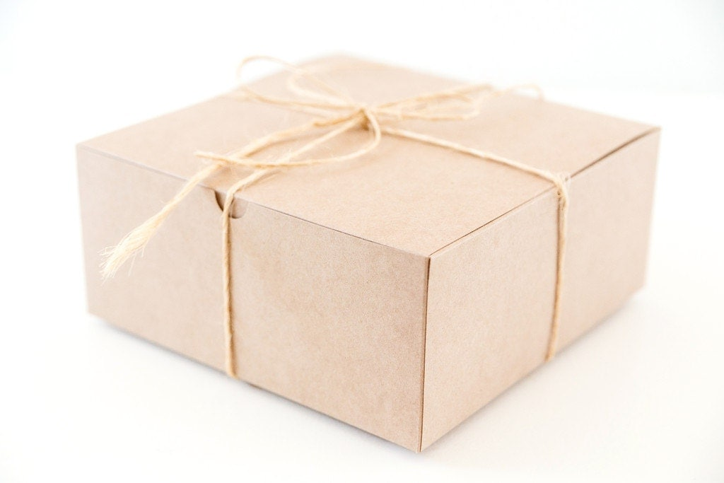 10 Large Square Kraft Gift Boxes 8x8x3.5