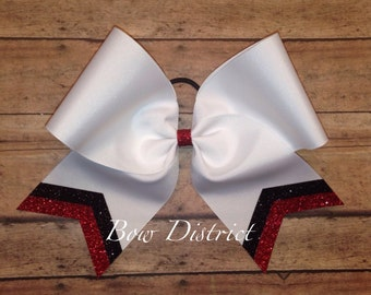 """3"""" White Team Cheer Softball Volleyball Bow with Black and Red Glitter Tail Stripes"""