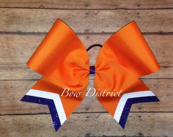 """3"""" Orange Team Cheer Softball Volleyball Bow with White Glitter and Royal Blue Glitter Tail Stripes"""