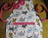 Girls Apron -Girls Kitten apron -Aprons -Girls cute apron -Fun kitten apron -Retro Kittens - Handmade-Fits  Size 4 to 8-