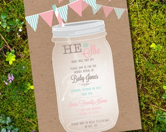 Shabby Chic Mason Jar Gender Reveal Party Invitation - Boy or Girl - Instant Download and Editable File - Personalize with Adobe Reader